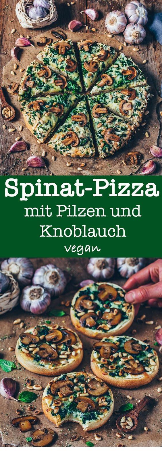 Spinat-Pizza mit Pilzen und Knoblauch