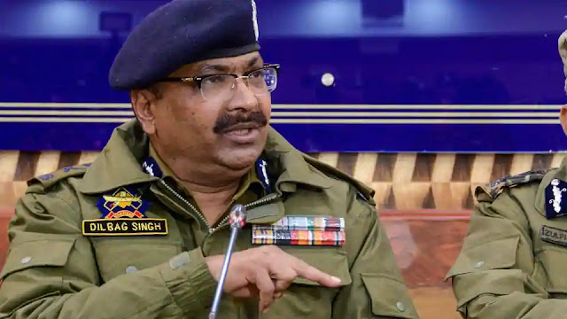 J&K DGP Dilbag Singh addresses a press conference