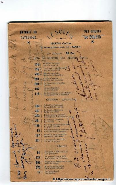 La Bourrée du Massif Central, programme 1938, les Disques Le Soleil M. Cayla, Paris.