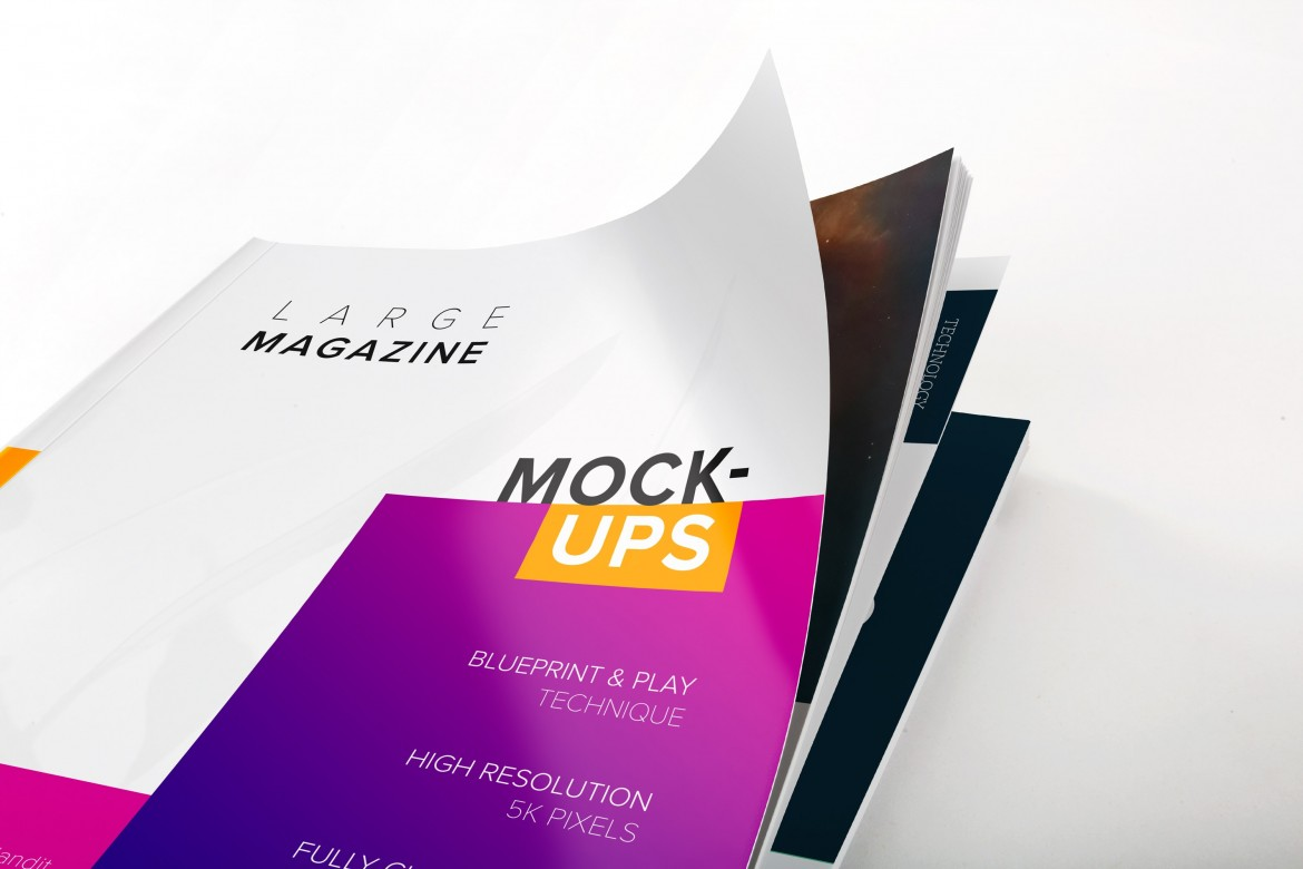 Magazine Cover Close Up View Mockup