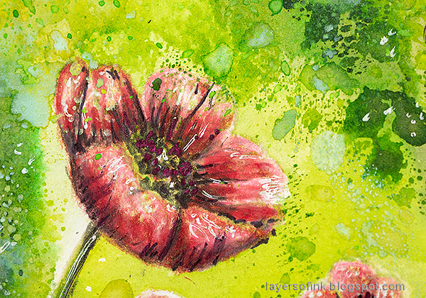 Layers of ink - Poppy Artist Trading Card Tutorial by Anna-Karin Evaldsson. Stamp with Simon Says Stamp Thoughtful Flowers stamp set.