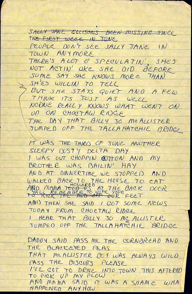 Lyric lyrics to ode to billy joe : Fire Star Press: WHAT DID BILLY JOE MACALLISTER REALLY THROW OFF ...
