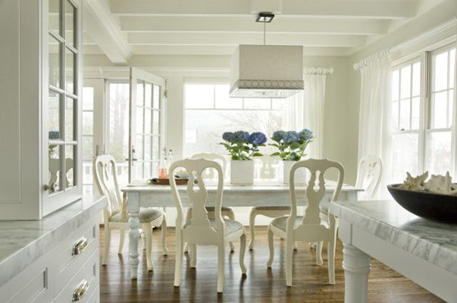 square drum pendant lighting white dining room open to kitchen