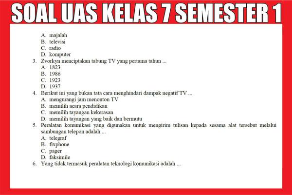 Soal UAS Kelas 7 SMP/MTs Semester 1 (ganjil)