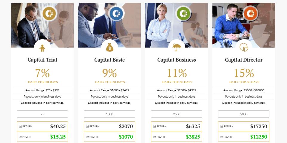Инвестиционные планы Capital Coin