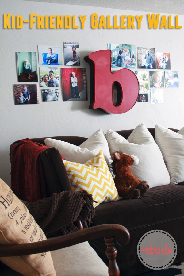 How to create a kid-friendly gallery wall. #gallerywall #decoratingwithpictures