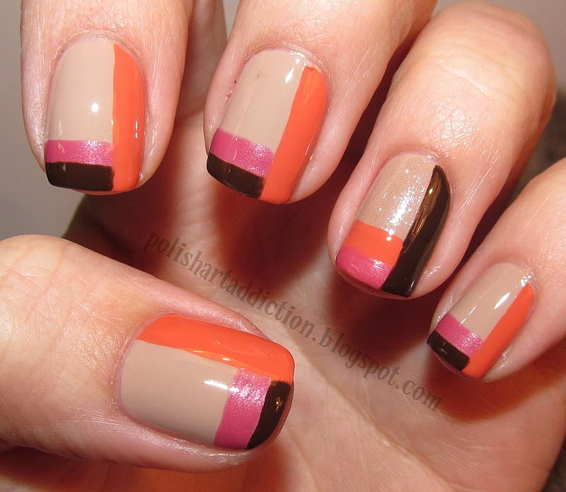 Nail Art Kuning: Pink/Coral/Tan