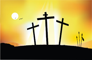 Clipart image of the three crosses silhouetted against the sun for Easter