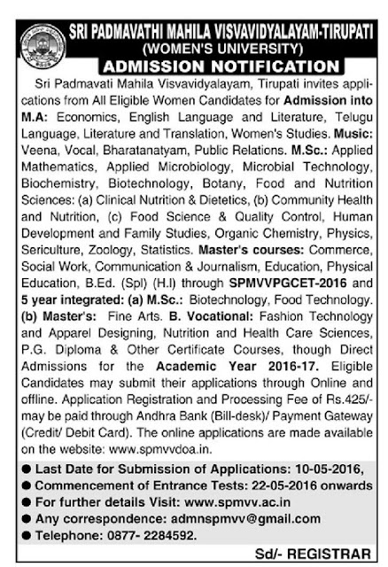 Padmavathi Mahila University PG Notification 2016 Apply Online SPMVVPGCET