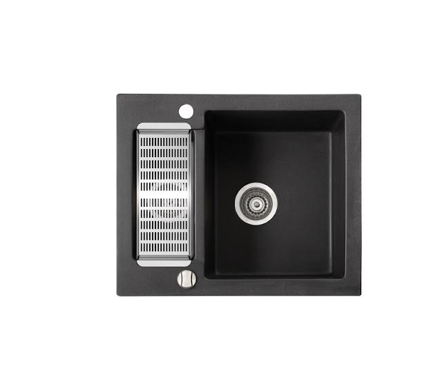 Chiuveta de bucatarie din compozit, neagra, cu picurator, dimensiuni redure