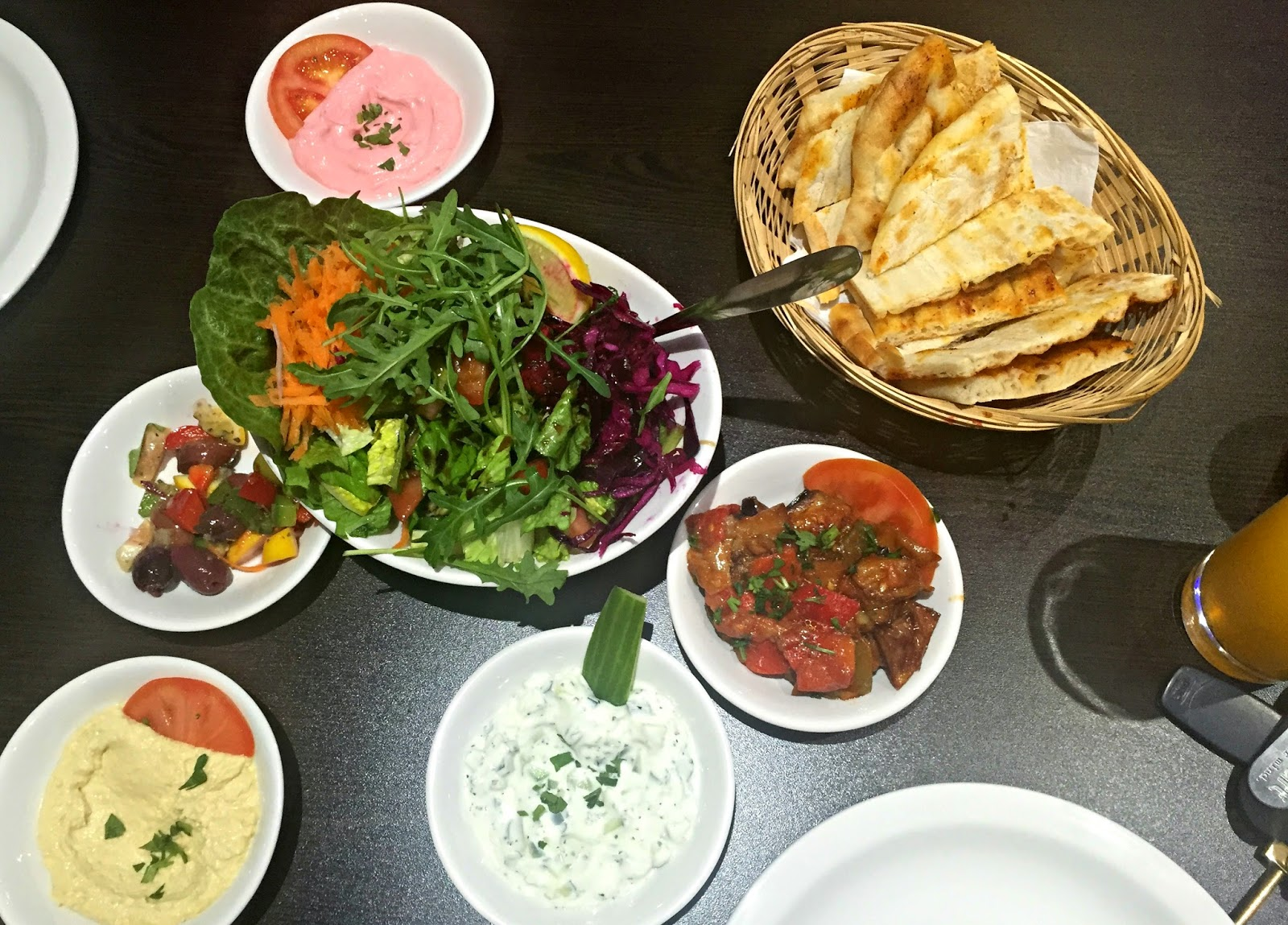 selection of salads and dips