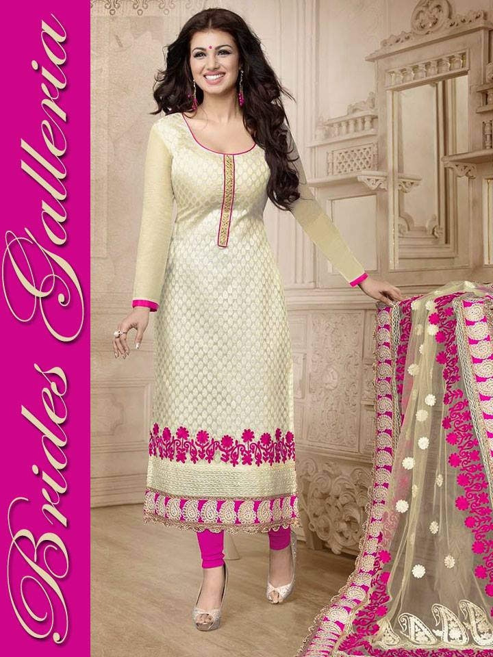 Luxury Embroidery Neck Design On Long Shalwar Suits For Women