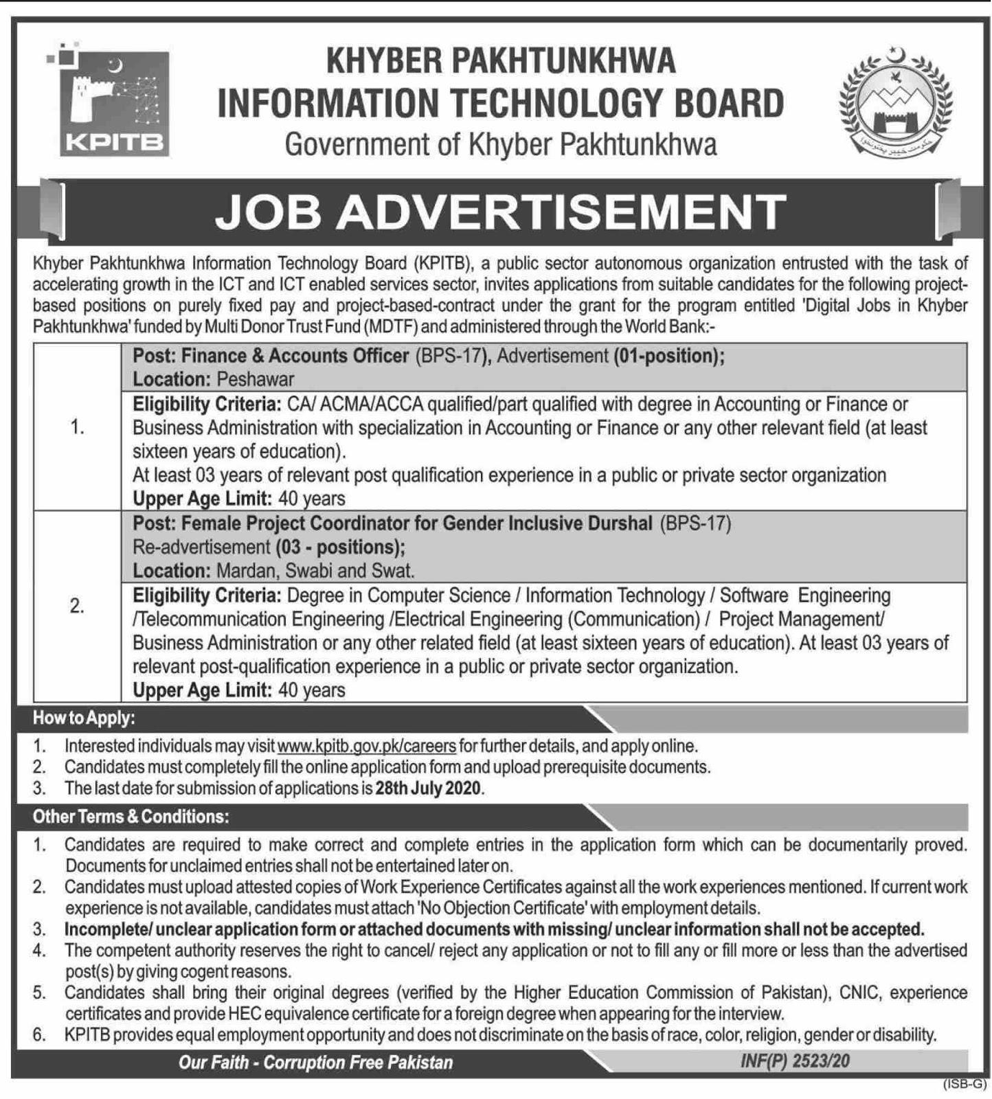 KPK Technology Board Jobs 2020