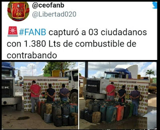 APREHENDIDOS 3 SUJETOS POR CONTRABANDO DE COMBUSTIBLE