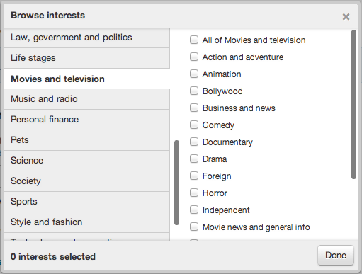 twitter interest targeting categories