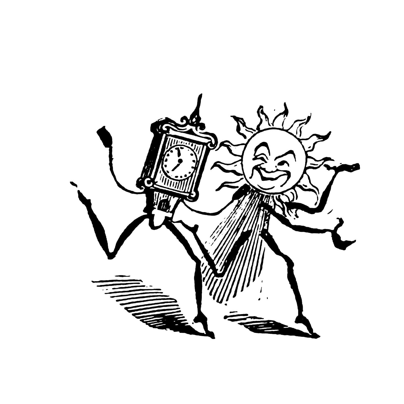 おしゃれでかわいい「太陽と時間の悪業カリカチュア」pop広告