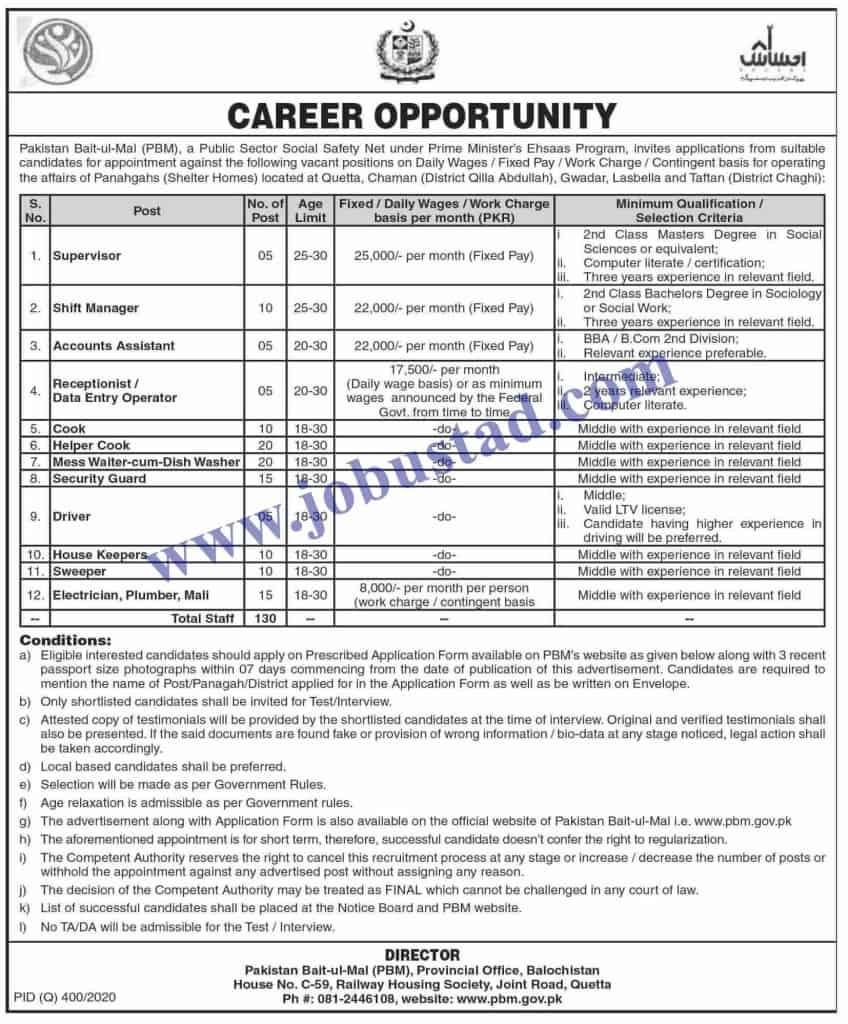 Jobs in Pakistan Bait ul Mal Nov 2020
