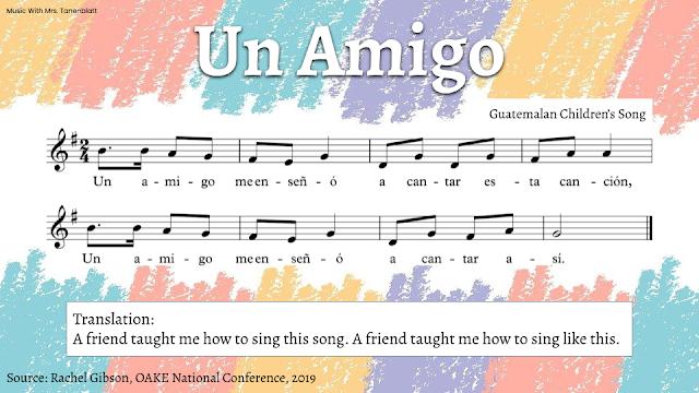 """Notation for the Guatemalan children's song """"Un Amigo"""""""