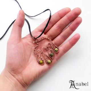 купить медный кулон со змеевиком украшения ручной работы из проволоки Anabel wire pendant украина