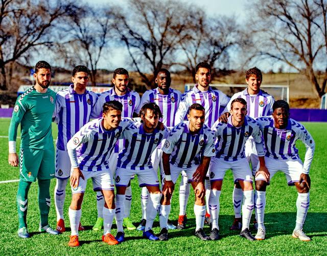 REAL VALLADOLID B. Temporada 2018-19. Samu Pérez, Miguel, Pedrosa, El Hacen, Carrascal y  Mario Robles. Zalazar, Apa, Corral, Javi Pérez y Salisú. REAL VALLADOLID B 1 PONTEVEDRA C. F. 0. 03/02/2019. Campeonato de Liga de 2ª División B, Grupo I, jornada 23. Valladolid, España, Campos  Anexos del estadio José Zorrilla. GOLES: 1-0: Miguel De la Fuente (5').