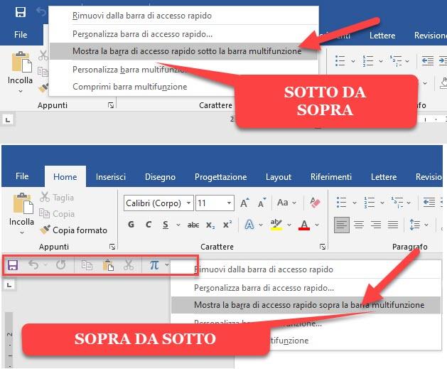 spostare la barra di accesso rapido sopra o sotto la barra multifunzione