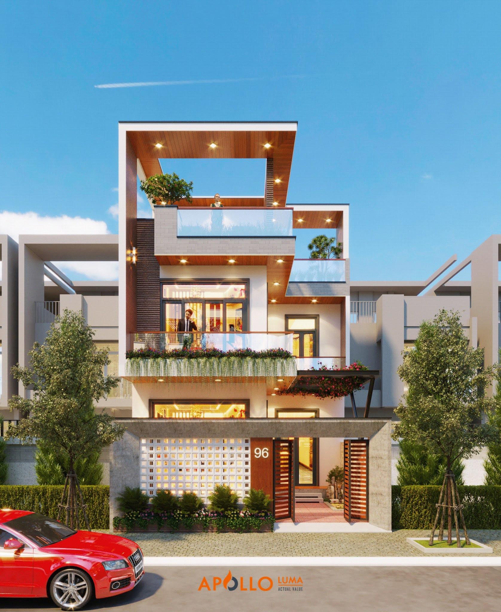 Thiết kế nhà phố 160m2 (8x20m) tại Bắc Giang