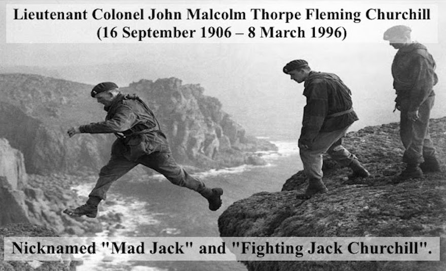 "WWII Lt. Mad Jack Churchill, Royal Military Academy graduate. Photo of ""Mad Jack"" leaping over crevices on a Scottish Cliff training WWII Commandos. Overstreet and Mad Jack and other stories of pilots. marchmatron.com"