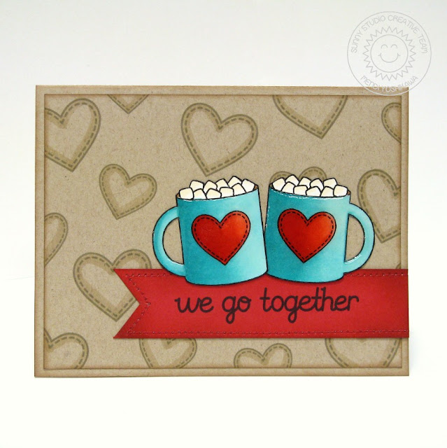 2015 Winter Coffee Lovers Blog Hop: Sunny Studio Hot Cocoa Card using Hot Drinks~Warm Hearts Digital Stamp