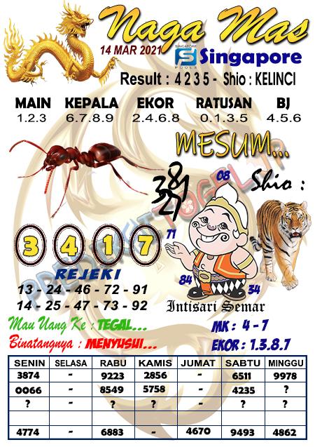 Syair Naga Mas SGP Minggu 14 Maret 2021