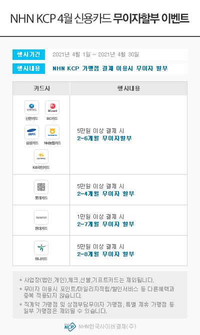 NHN KCP 4월 신용카드 무이자할부 이벤트