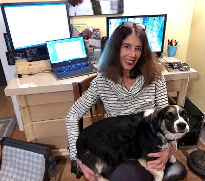Nancy working from home with helper Mini Bobo