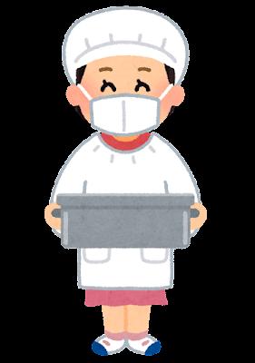 食缶を運ぶ給食係のイラスト(女の子)