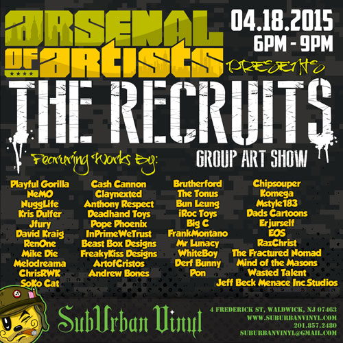TOYSREVIL: Suburban Vinyl Presents The Recruits Group Art Show