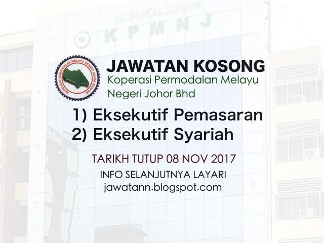 Jawatan Kosong Koperasi Permodalan Melayu Negeri Johor Bhd November 2017