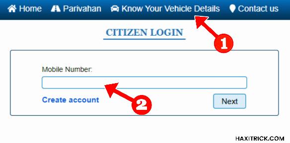 Parivahan Website to get Vehicle Details
