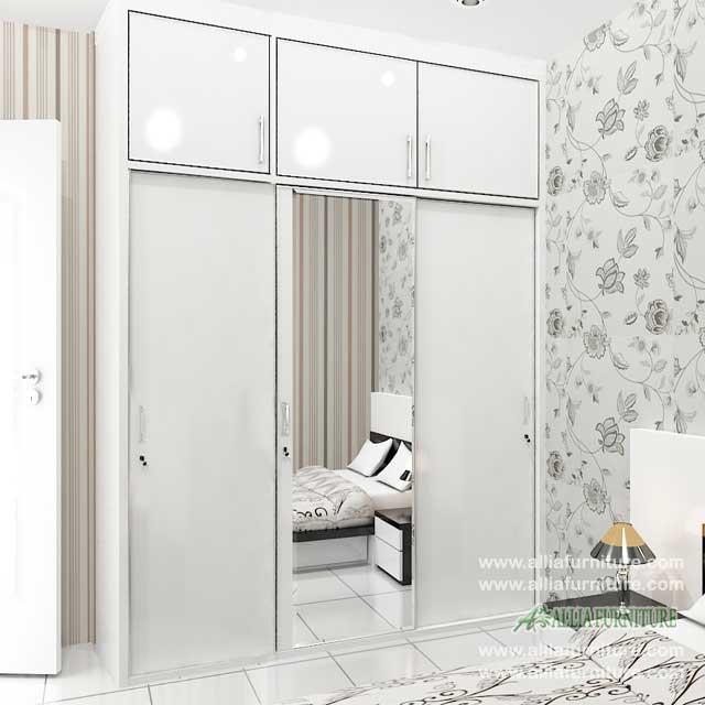 lemari pakaian minimalis 3 pintu geser model NZ
