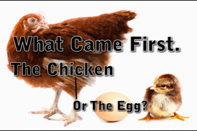 What Came First. The Chicken or The Egg? By Simon Brown.