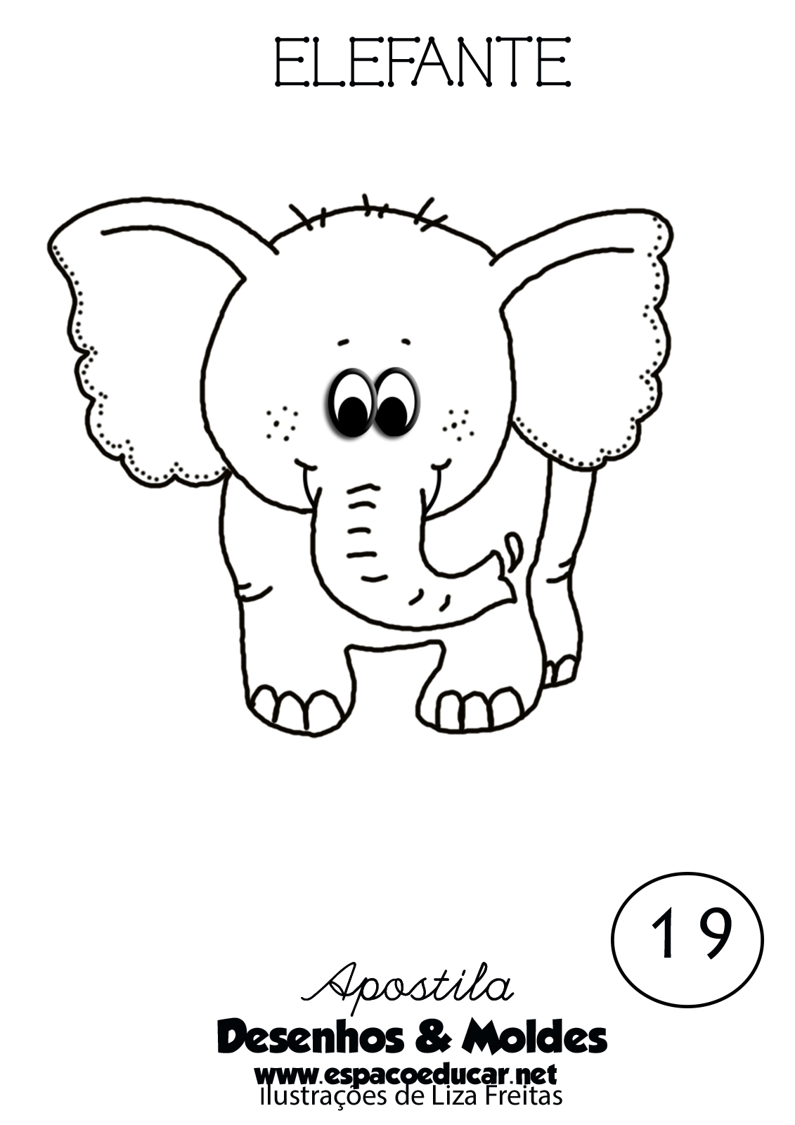 Desenho De Elefante Fofo E Lindo Para Colorir Pintar Imprimir