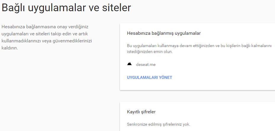 google hesabım bağlı uygulamalar ve siteler