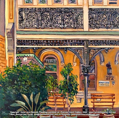 Plein air oil painting of the Victoria Street terraces in Darlinghurst painted by industrial heritage artist Jane Bennett