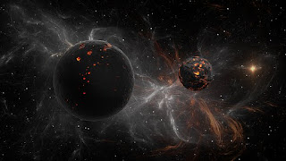 Foto de astros en un universo oscuro. Dinamismo y energía