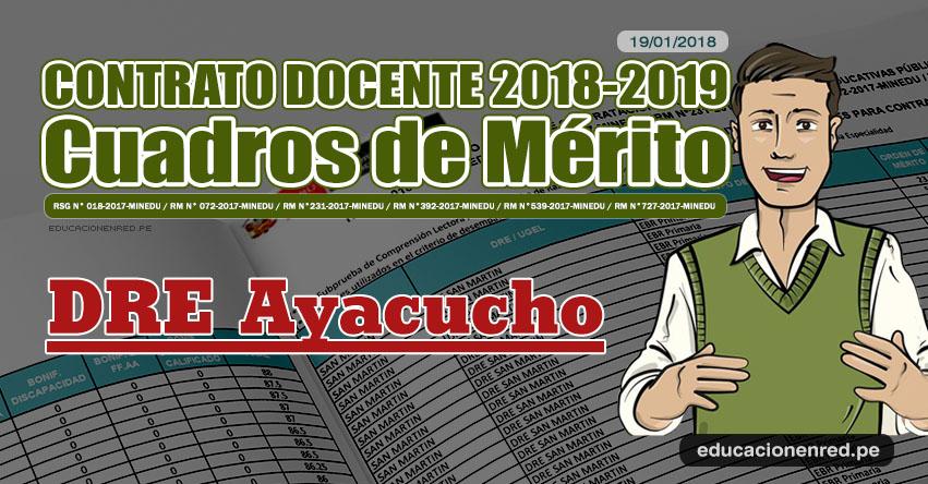 DRE Ayacucho: Cuadros de Mérito Contrato Docente 2018 - 2019 (.PDF) www.dreaya.gob.pe
