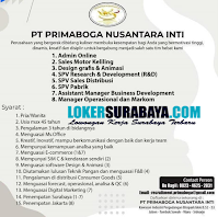 Open Recruitment at PT. Primaboga Nusantara Inti Sidoarjo Oktober 2020