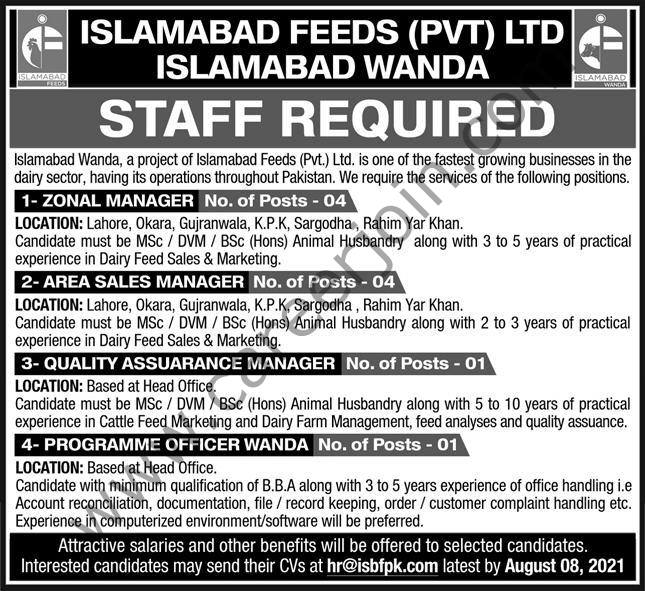 hr@isbfpk.com - Islamabad Feeds Pvt Ltd Jobs 2021 in Pakistan