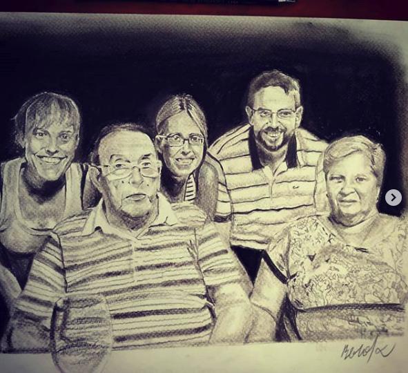 Retrato a blanco y negro de familia