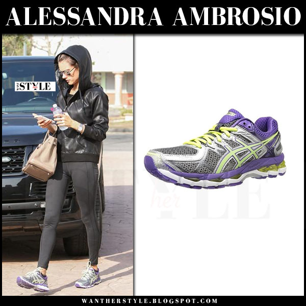 Alessandra Ambrosio in purple asics sneakers with beige Hermes tote firkin 35 what she wore