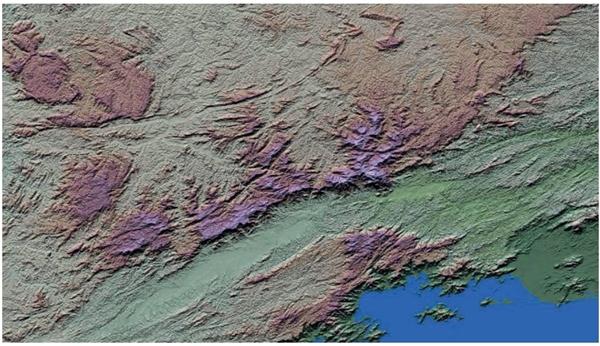 Observe a imagem de radar a seguir, que corresponde a um amplo trecho da Região Sudeste do Brasil. Essa imagem, um recurso muito importante para estudos geográficos regionais, apresenta um conjunto de características que permitem compreender diversos elementos das paisagens.