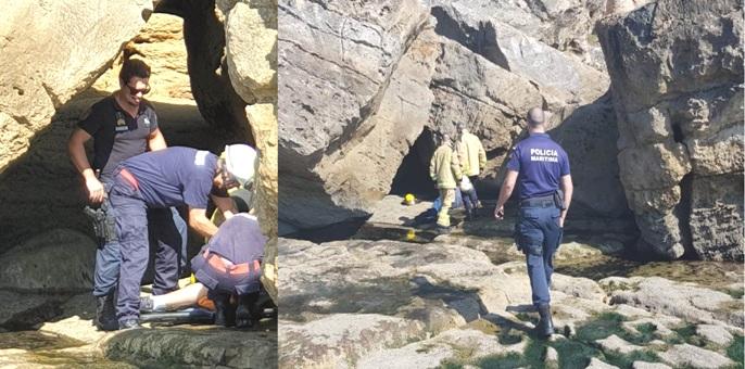 Polícia Marítima e Bombeiros resgatam cidadão brasileiro com suspeita de fractura em queda na Boca do Inferno