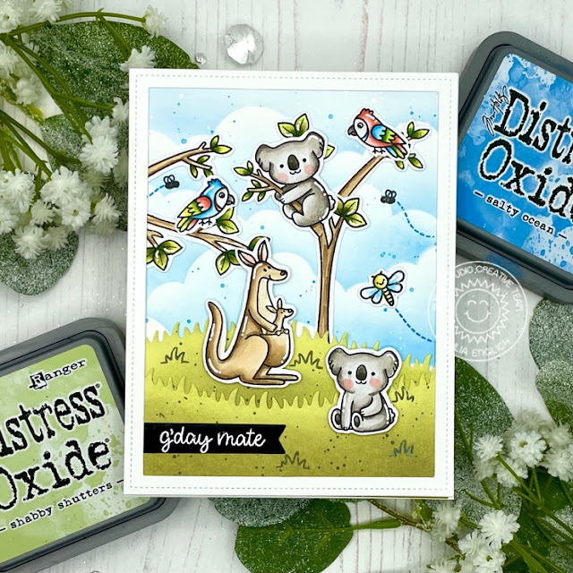 Sunny Studio Stamps: Outback Critters A Bird's Life Slimline Dies Card by Julia Englich