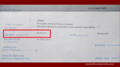 IndusInd bank Customer id in Passbook